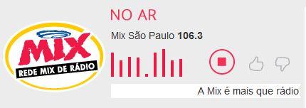 Ouvir agora ao vivo a rádio MIX FM 106,3 de São Paulo online no Guia Rádios SP